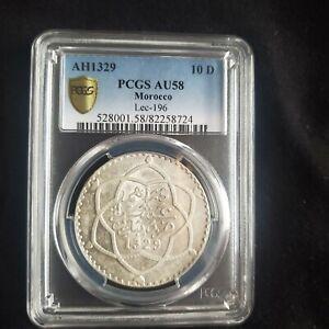 AH 1329 (1911) SILVER MOROCCO RIAL (10 DIRHAMS) COIN PCGS AU 58