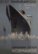 Cie Gle TRANSATLANTIQUE SS NORMANDIE FRENCH LINE French Travel Poster. Art Deco