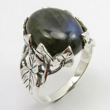 LABRADORITE Claw Setting Ring Size 9 6.6 Grams 925 Sterling Silver Stone Jewelry