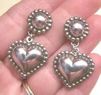"VINTAGE 925 STERLING SILVER HEART EARRINGS POSTS BEADED 1.5"" HALLMARKED THAILAND"