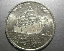 VINTAGE CRUISE SHIP PICTORIAL GAMING TOKEN SILVER DOLLAR SIZE UNKNOWN SHIP CO.