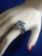 PRETTY VINTAGE RING IN TURQUOISE DIAMANTES - SIZE P (7 1/2)
