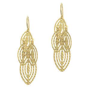 14k Yellow Gold Shiny Diamond Cut Marquise Shape Dangle Earrings
