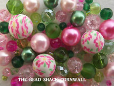 Glass Bracelet Making Kit / Bead Mix - Pink & Green Spring Garden