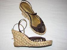 9.5 B Guess Wepowan Brown Wedge Platform Heels Woven Basket Strappy  Ladies Shoe