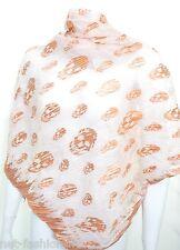 Alexander McQueen Teschio PLISSE Zoppo fatto a mano rosa e Oro Rosa Sciarpa di seta nuovo con etichetta