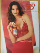Sexy Girl Beer Poster Budweiser ~ Busty Woman in Red Sparkle Top and Red Skirt