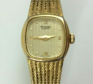"Vintage Bulova Watch Women Gold Tone Rectangle New Battery 7"""