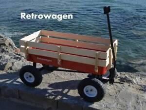 Authentic Retrowagen Pull along wagon - anti tip axle flyer trolley kart radio