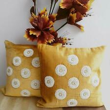 Velvet Moti Cushion Cover (Yellow, 16 x 16 inch) Set of 2