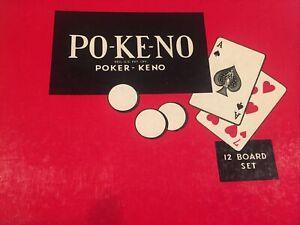 Vintage 1960's POKENO Board Game Full Set 12 Boards & Red Chips Bingo Poker Keno