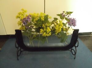 Contemporary Glass Vase on metal support Sleek Elegant gd cond for windowsill