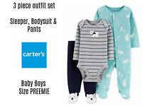 Set 3 Carters Baby Boys Winter Layette PREEMIE Polar Bear Sleeper Bodysuit Pants