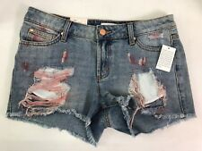 Candies Denim Jean Shorts Distressed Painted Dyed Size 5