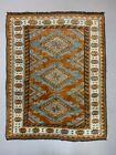 Old Turkish Rug 158x125 cm Vintage Oriental Rare Carpet Blue Brown Beige