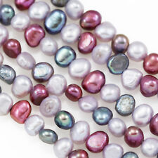 5-6mm Peacock Berry Lavender Mixed Colour Baroque Nugget Freshwater Pearls Beads
