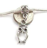 Hollow Owl Dangle Silver Tone Large Hole Add a Bead for European Charm Bracelet