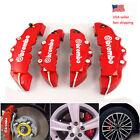 4pcs Car Disc Brake Caliper Covers Front Rear Kit Red 3d Style Universal