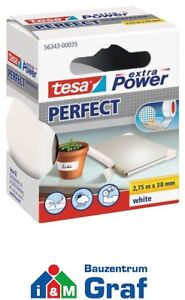 Tesa Extra Power Perfect Cloth Tape Tape 2,75 M x 38mm / White or Black