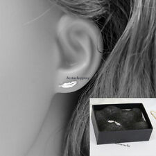 Korean Fashion Womens 925 Sterling Silver Mini Feather Ear Stud Earrings Gift