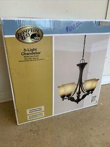 "5 Light Chandelier Rustic Iron Finish 24"" x23""  Hampton bay IVORY SHADE"