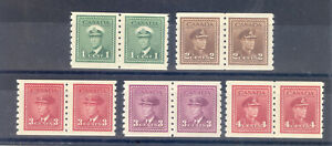 CANADA SG 389-93 GVI  COIL STAMPS IN PAIRS M/M