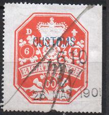 """GB, embossed 8d orange 6/4/00 """"CUSTOMS"""" fiscal/revenue stamp, used."""
