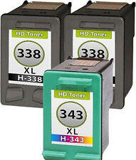 3 Tintas para HP 338+343 XL psc 1500 serie 1510 1600 1610 2355 2610