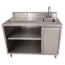 """Bk Resources Bevt-3072R 72""""x30"""" Stainless Steel Beverage Table w/ Sink on Right"""