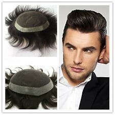 Hand Tied Remy Human Hair Mens Toupee Replacement Swiss Lace Poly Thin PU Around