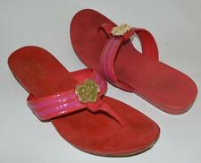 COACH Poppy 6.5 fits 7 red carmine flip flopdressy leather sandals gold buckle