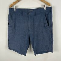 Levis Mens Shorts Size 34 Blue Linen Blend Pockets Chino