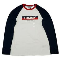 Tommy Hilfiger Denim Mens T-Shirt Long Sleeve Crew Neck Tee White&Blue Size M