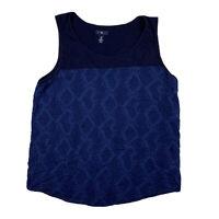 GAP Women XL X Large Scoop Neck Sleeveless Tank Top Blouse Top Blue