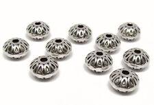 10 Metallperlen silberfarben mit Muster 1cm x 0,65cm, Rondelle, Perlen basteln