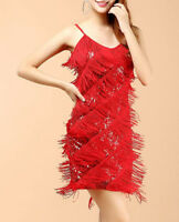 1920s vintage gatsby flapper charleston sequins tassels red party dress UK 8-12