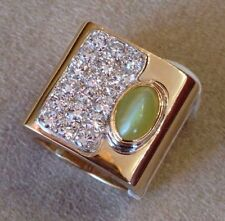 Wide Cat's Eye Chrysoberyl and Diamond Ring in 14K Yellow Gold -  HM1404AE