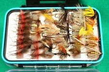 "6 x 4"" fly fishing box with 95+ trout flies nymphs,buzzers Mayflies poppers(124)"