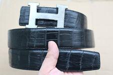 "No Jointed Black Genuine Alligator Crocodile Leather Skin Men's Belt - W 1.5"""