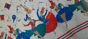 True 1950s Vintage Calypso Dancing Girls Cotton Fabric