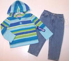 NWT Just Friends Girl's Striped Fleece Star Hoodie & Denim Jeans Outfit, 3T
