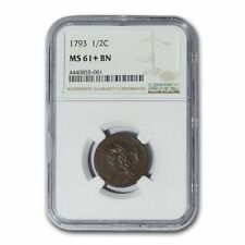 1793 Half Cent Ms-61+ Ngc (Brown) - Sku#153557
