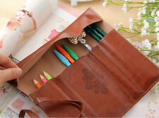 Vintage Trendy Pencil Pen Case Cosmetic Brush Holder Pouch Makeup Pocket Bag