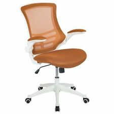 Flash Furniture Mid Back Mesh Office Swivel Chair in Tan and White