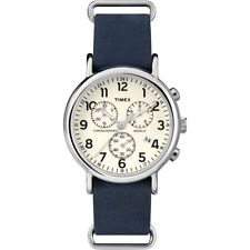 Timex Weekender Men's Blue Leather Steel Chronograph Indiglo Watch TW2P62100 NEW