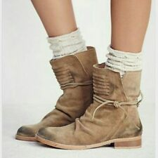 NWOB $198 Free People Tan suede distressed CAMBRIDGE WRAP BOOTS ankle Size 8 38