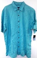 Via Europa Blue Short Sleeve Shirt XLT Big & Tall