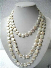 "Beautiful 11-13mm White Coin Pearl 60"" Long Necklace gift"
