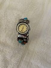 Coral Cuff Bracelet Watch *Signed* Native American Silver Turquoise and