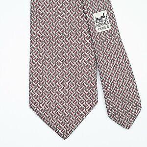 HERMES TIE 5528 UA H Brick on Dark Red Classic Silk Necktie